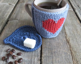 Coffee Cozy Knit Cup Sleeve Mug Cozy Crochet Cup Cozy Coffe Tea  Gift Teacher Friend Coffee Lovers Gift Knit Mug Sweater Coffee