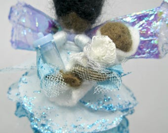New Baby Boy Felted Fairy w/ Flower Petals Wool Hanging Decoration Ornament