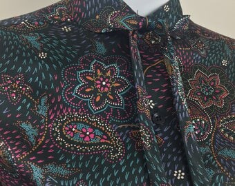 Vintage Styled by Terry Black Blouse with Floral & Paisley Print and Neck Tie/Size 10