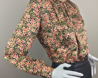 Vintage Helene St. Marie Black Turtleneck Blouse with Peach, Pink, and Olive Green Floral Print/100% Polyester/Made in USA/Size 10