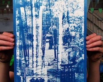 Honshu To Kysushu Cyanotype Print
