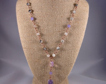 Charoite Pendant Necklace with Tourmalinated Quartz and Flourite Chain Necklace