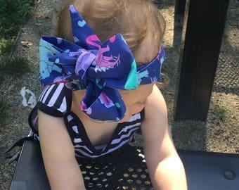 Dinosaur Headwrap- Headwrap; Head Wrap; Dino Headband; Dinosaur Headband; Dino Headwrap; Dinosaur Bow; Dino Bow; Toddler Headband; Turban