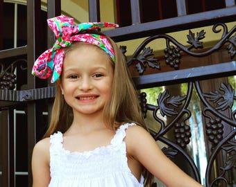 Rosie Posie Headwrap- Rose Headband; Rose Headwrap; Rose Bow; Flower Headband; Flower Headwrap; Flower Bow; Girls Headband; Girls Headwrap