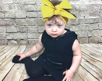 Yellow Dottie Headwrap- Headwrap; Yellow Heaband; Yellow Bow; Polka Dot Headband; Lace Headband;  Mommy and Me Headwrap; Baby Headband