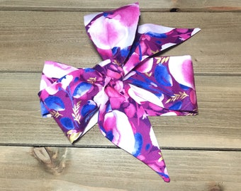 Matching Headbands- Purple Watercolor; Flower Headband; Purple Headband; Flower Headwrap; Purple Headwrap; Flower Bow; Purple Bow; Head Wrap