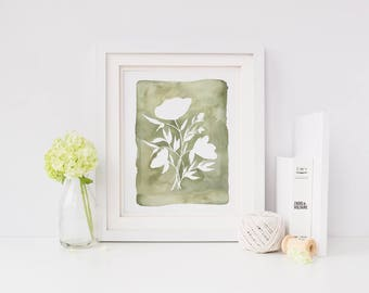 Green Botanical Print // Green Print // Modern Home Decor Print