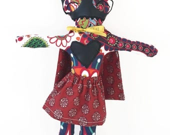 Rag doll superhero Miss Folk-Fabric rag doll