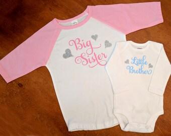 Big Sister Little Brother Matching Shirts - Big Sister Shirt - Little Brother Shirt - Pregnancy Announcement Shirt - Baby Shower Gift