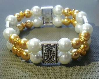 Double strand silver pendant pearl white and gold bracelet