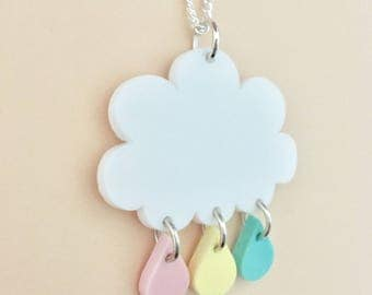 Raindrops Cloud Acrylic Necklace In Pastel