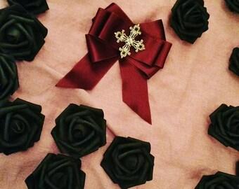 Bordeaux Ribbon Cross Pin