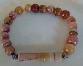 Pink-Tinted Stone Bracelet-