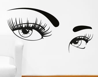 Eye Lashes Decal Etsy - Wall decals eyes