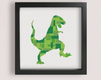 Geometric Dinosaur Cross Stitch Pattern / Printable PDF / Dinosaur Embroidery Pattern / Geometric cross stitch / PixlStitch