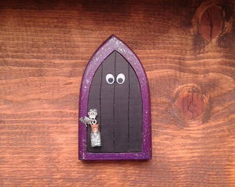 Handmade Witch Fairy Door, Halloween Decor for Kids Room, Imaginative Play, Pretend play, Unique Gift for him, Gift for Her