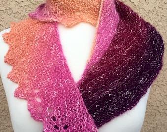 Hand Knit Lace Edge Shawl