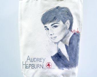 Audrey Hepburn Hand Painted Canvas Tote Bag