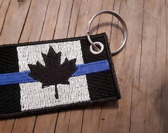 Embroidered Canada blue line keychain