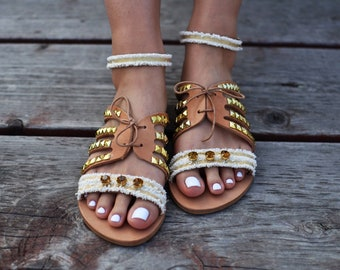 "Bridal Sandals ""Delilah"" , Greek sandals, Leather sandals, Boho sandals, luxurious sandals , handmade sandals, classy sandals, gold sandals"