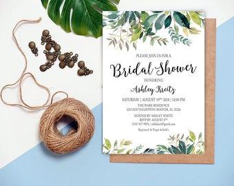 Watercolor Bridal Shower invitation, Bridal shower invitation, Rustic bridal shower invitation, Floral Bridal Shower - US_BI0505
