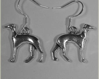 Greyhound / Whippet Antique Tibetan Silver Drop Earrings Sighthound Accessories Gift Jewellery