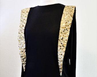 Roots of London Dress/ Black and Gold Midi Dress/ Spaceage Dress/ Gold Sequin Dress / Retro Dress/ Vintage Dress/ Size 14 Dress/ 1980s Dress