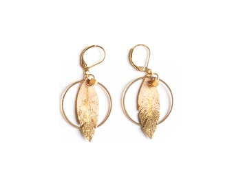 Nude leather hoop earrings, romantic feather hoop earrings, bohemian hoop earrings, bohemian leather earrings, shabby chic earrings