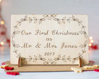 Our First Christmas - Christmas as Mr & Mrs - Card for Wife - Card for Husband - Personalised Xmas Card - Our First Christmas As Mr and Mrs
