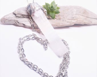 Cleansing selenite wand crystal necklace