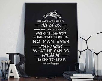 Euron Greyjoy Quote - Perhaps we can fly - Poster, Art Print - Motivational Quote, Dares To Leap, Typography, Gift Idea, Game of Thrones
