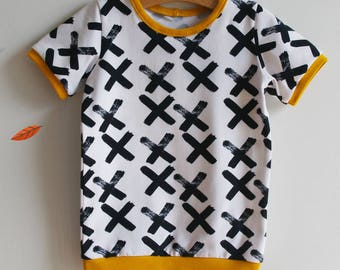 Mixed organic T-shirt, printed cross