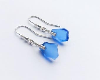 Sea Glass Earrings, Cornflower Blue Sea Glass Earrings, Sterling Silver Earrings