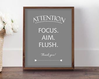 Bathroom Sign for Boys, Funny Bathroom Print, Focus Aim Flush, Funny Art for Man's Bathroom, Sarcastic Bathroom Sign, Bathroom Decor