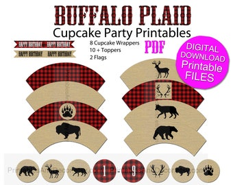Buffalo Plaid Party Printable Cupcake Topper Wrapper Flags DIY Boy Birthday Party Digital Download