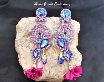 soutache earrings blue, soutache, soutache jewelry, handmade earrings, soutache jewels, long earrings, tassel earrings, soutache embroidery