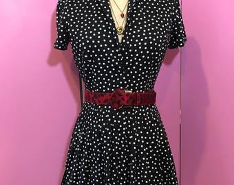 vintage dress/ stretch cotton polka dot dress/shirt dress/black and white polka dot/fab 208 nyc