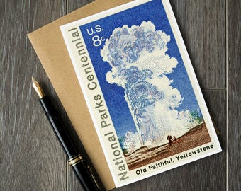 old faithful birthday card, yellowstone national park cards, old faithful, national parks united states, yellowstone old faithful cards art