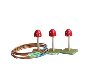 Vintage Ring Toss Outdoor Yard/Lawn Game with 4 Rings,Mushroom Spike,Bamboo Rings,Ring toss toy,Summer Sports,Throwing Game,Fun Set,Garden