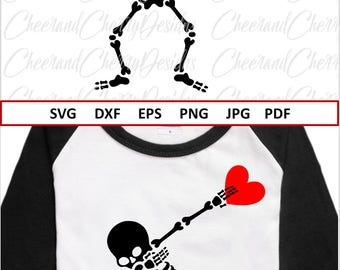 Dabbing Skeleton SVG for Valentines svg for Silhouette Dxf Kids Valentine Svg Boy Valentine Svg Files for Cricut Valentine's day Svg shirt