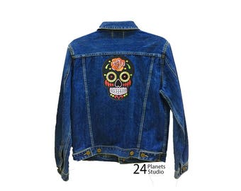 Large Black Mexican Skull Large Iron on Patch by 24PlanetsStudio Jacket Patch