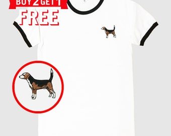 Beagle Dog Embroidered Ringer T-Shirt by 24PlanetsStudio