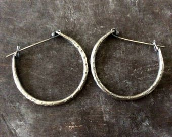 Textured raw silver hoops