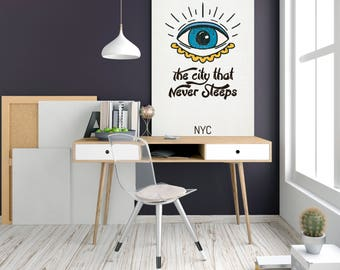 The City That Never Sleeps - New York City, Map Poster, Minimalism Poster, NYC Map Print