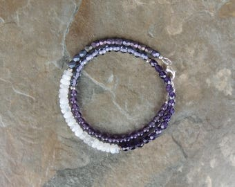 Amethyst Bracelet, Purple Bracelet for Women, Boho Bracelet for Her, Gemstone Wrap Bracelet, Wrap Bracelet Beaded, Double Wrap Bracelet