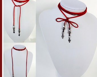 Red suede lace necklace