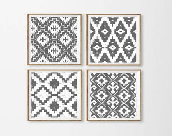 Ikat Art Printables, Set of 4 Ikat Wall Art, Neutral Grey Ikat Art, Aztec Blue Wall Art, Tribal Art Black Square Large, Gray Dining Room Art
