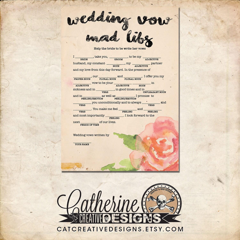 Bridal Shower Wedding Vow Mad Libs Bride Edition | Rustic Floral ...