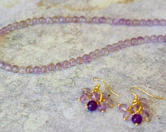 Pink Amethysts and Vermeil Necklace with Matching Earrings.