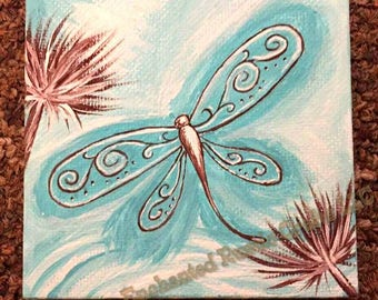Dragonfly Painting Canvas Wall Art Turquoise Blue
